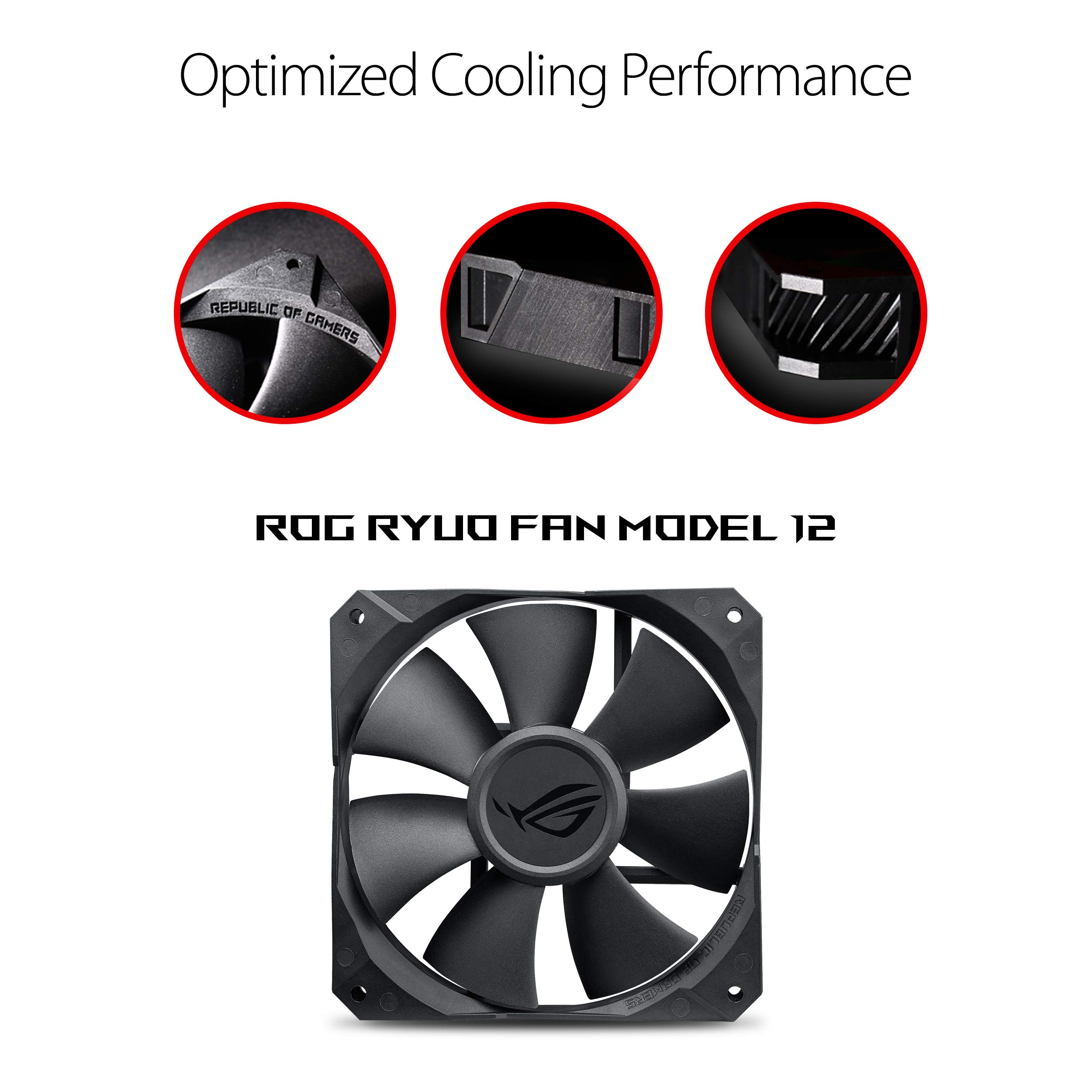 ASUS ROG RYUO 240 RGB AIO Liquid CPU Cooler 240mm Radiator Dual 120mm 4-Pin PWM Fan with OLED Panel & Fan Control 1.77'' by ASUS (Image #3)