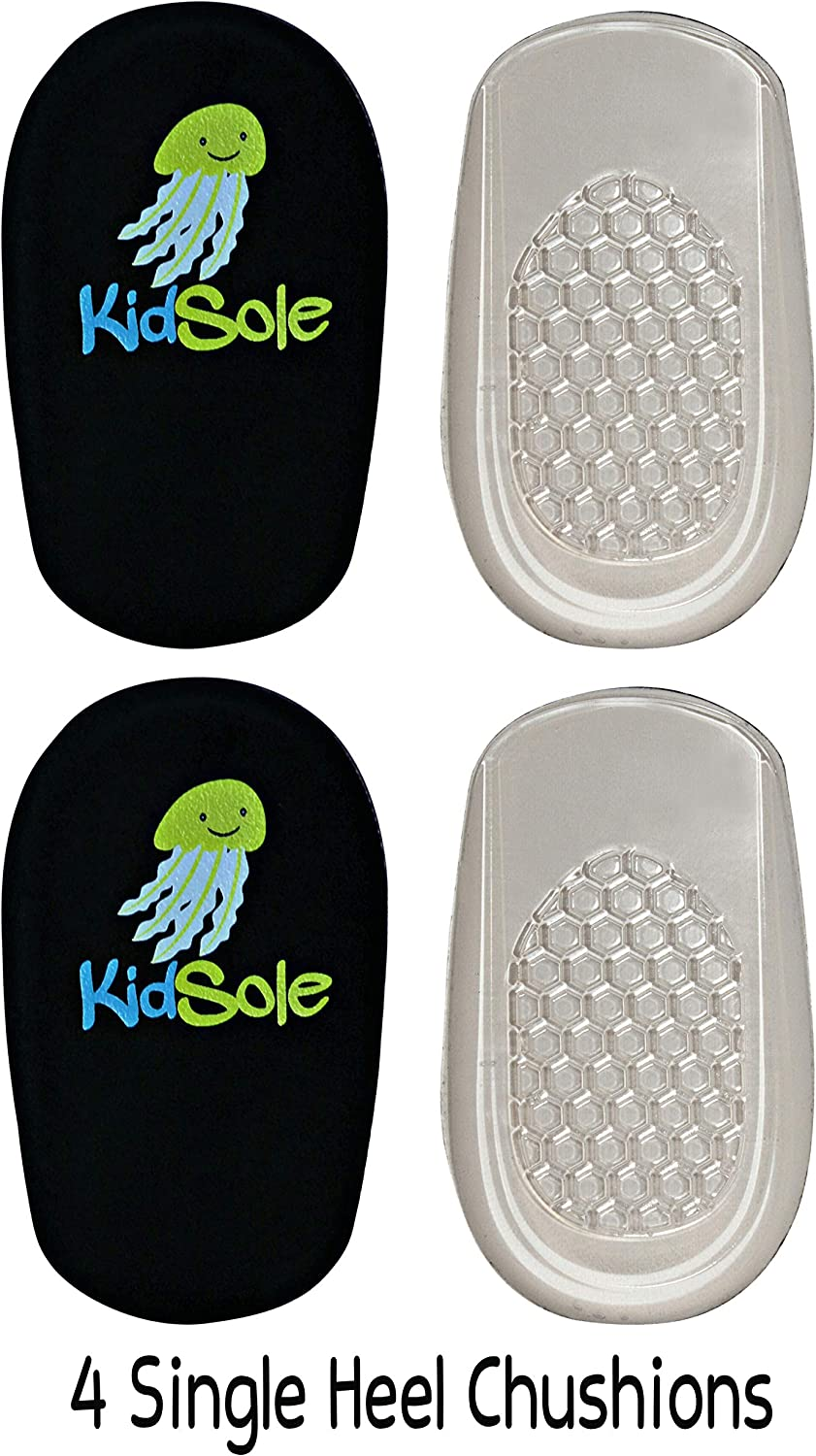 Black Jelly Premium Heel Cups//Heel Pads With Super Adhesive Gel Bottom US Kids Size 1-6 2 Pairs Brand New 2017 Release by KidSole.
