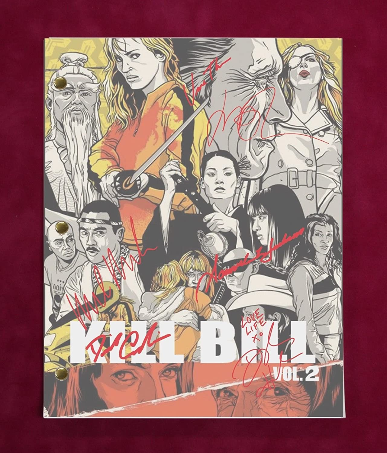 Kill Bill Vol. 2 Script With Reproduction Signatures Thurman Carradine Liu C3
