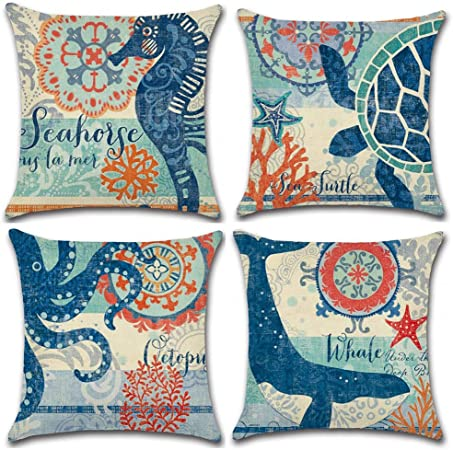 Gspirit 4 Pack Oceano Tema Acuario Algodón Lino Throw Pillow Case Funda de Almohada para Cojín 45x45 cm (A): Amazon.es: Hogar
