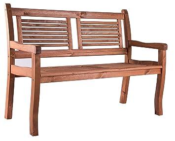 Bomi 2 Sitzer Gartenbank Holz Massiv | Holzbank Mit Lehne Kirschbaum  Wetterfest 120cm | Sitzbank Garten