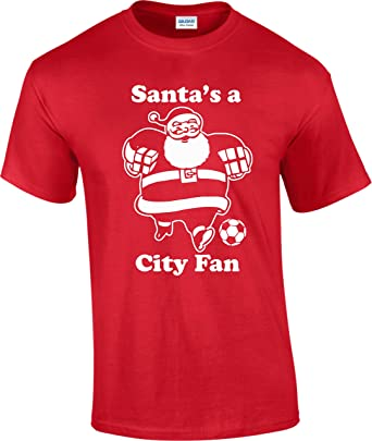 247b14d91aa Hat-Trick Designs Manchester Man City Santa Christmas Xmas Football Men s  T-Shirt Top Personalised Gift Secret  Amazon.co.uk  Clothing