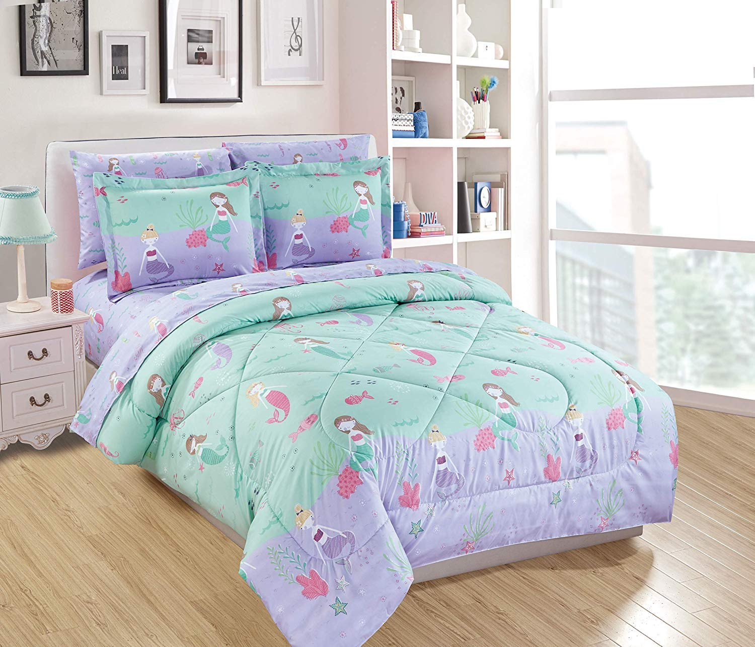 Luxury Home Collection 7 Piece Kids Full Comforter Set Mermaid Jelly Fish Sea Horse Sea Purple Green Pink #Mermaid (Full Comforter)