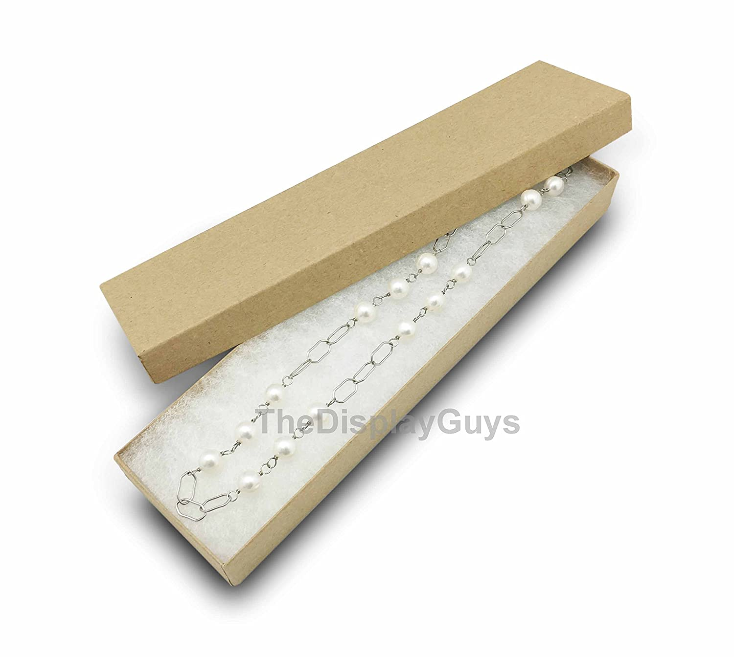 1 7//8x1 1//4x5//8 inches #10 Kraft The Display Guys Pack of 25 Cotton Filled Cardboard Paper Kraft Jewelry Box Gift Case