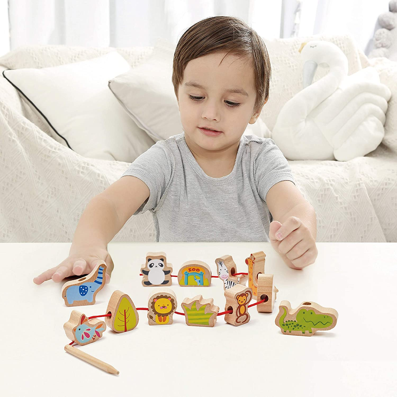 Classic World Zoo Beads Wooden Lacing Toy for Baby Toddler Early Learning Education