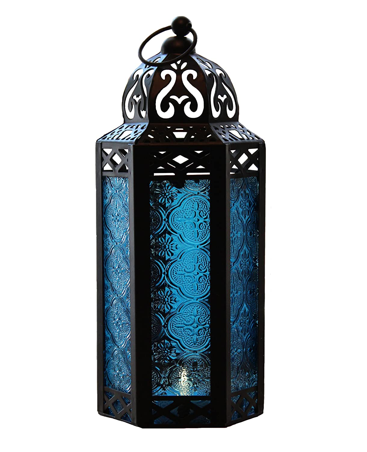 Hanging outdoor candle lanterns for patio - Vela Lanterns Mid Size Table Hanging Glass Hexagon Moroccan Candle Lantern Holders Blue