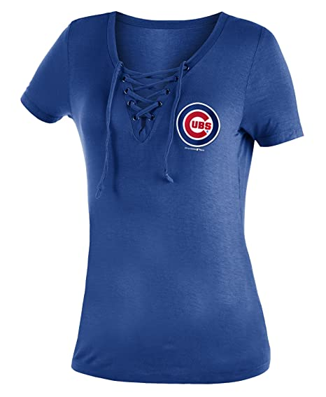 71c9fcd3 New Era Chicago Cubs Women's Logo Lace Up V-Neck T-Shirt