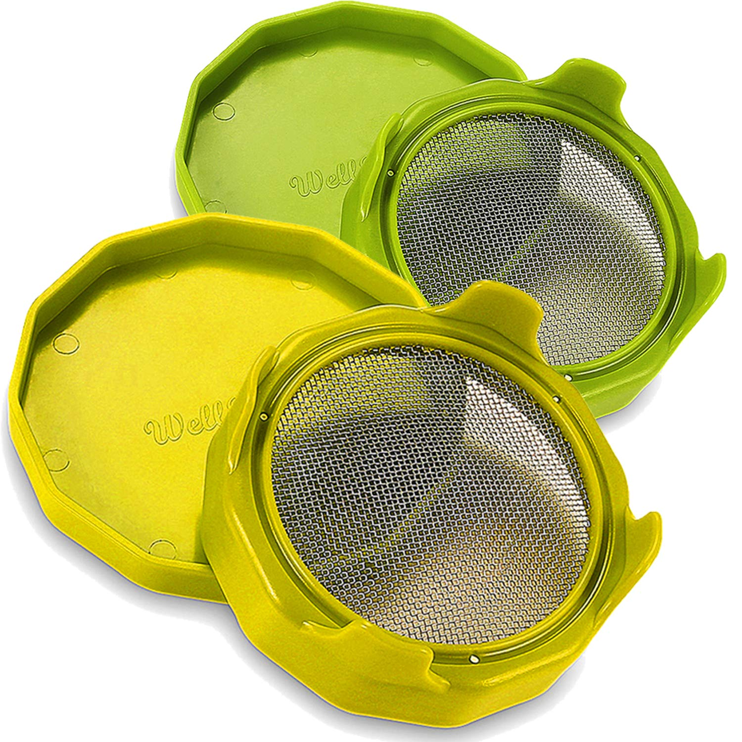 Easy Rinse and Drain Rustproof Sprouting Lids with stand for Wide Mouth Mason Jars - 2 Pack by WELLBANEE
