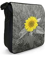 Bright Yellow Sunflower In Grey Fields Small Black Canvas Shoulder Bag / Handbag