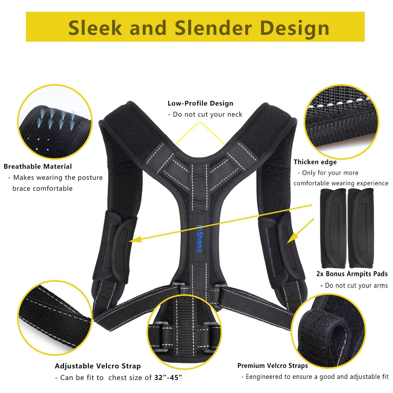 Back Posture Corrector for Women Men, Effective Primate Posture Brace & Armpit Pads, Comfortable Clavicle Brace, Adjustable Thoracic Kyphosis Brace, Upper Back Clavicle Posture Support (REG 32''-45'') by Risheng (Image #7)