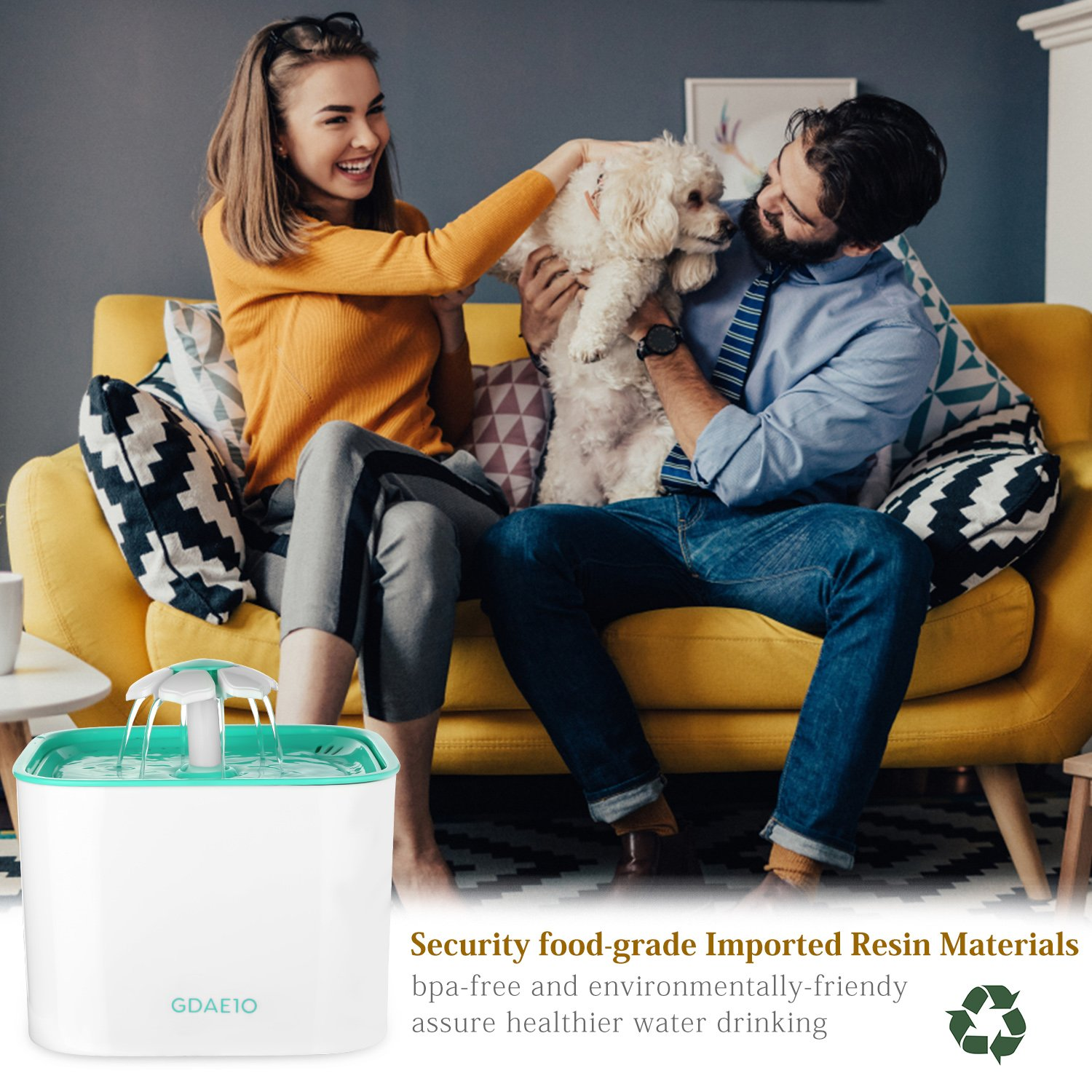 GDAE10 Pet Fountain, Cat Water Dispenser, Automatic Pet Drinking Fountain 2L Super Quiet Flower Circulating Silent Pump with 2 Replacement Filters for Cats, Dogs, Birds and Small Animals by GDAE10 (Image #6)