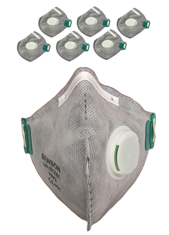6X Feinstaubmaske/Atemschutzmaske / Staubmaske mit Filter-Ventil, Schutzklasse FFP2 J.C.J.C Imports