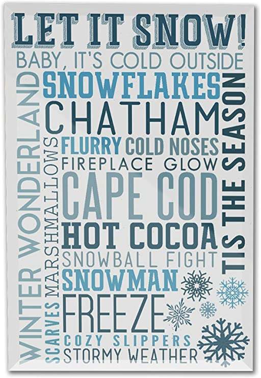 Typography Let it Snow Christmas Massachusetts Cape Cod 16x24 Gallery Quality Metal Art