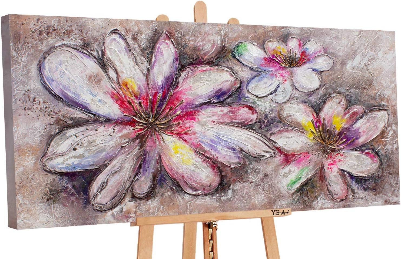 YS-Art Premium | Cuadro Acrílico Flores maravillosas | Pintado a Mano | Arte Moderno | Lienzo De Pared | único | Beige| PS077 (120x60)