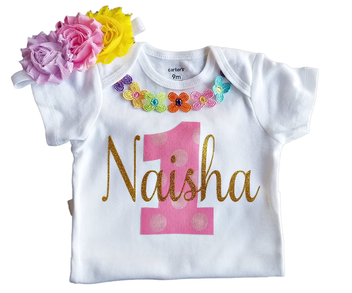 592dc58f8 Amazon.com: 1st Birthday Girl Rainbow Pastel Floral Outfit Personalized:  Clothing