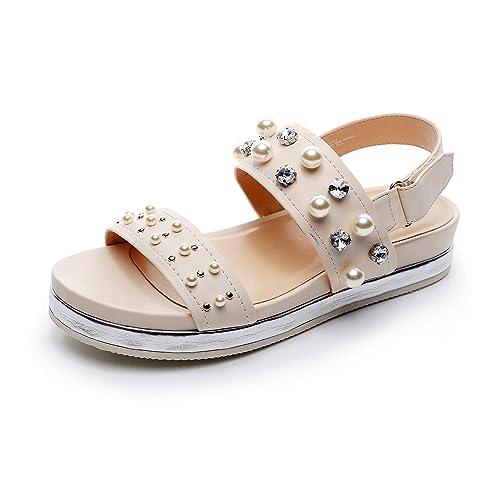 59f8686b29ddc DUNION Women's Amazing Floral Embroidered Slide Shoes Comfortable Platform  Sandal Slip-On Mule Narrow Strap Sandal