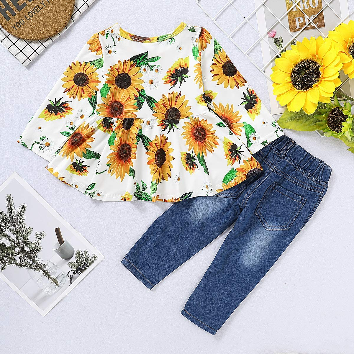 Cute Baby Girl Floral Short Sleeve Pant Set Flower Ruffle Top CARETOO Girls Clothes Outfits