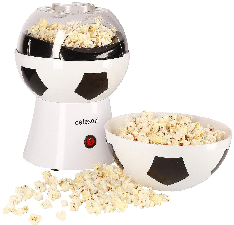 celexon máquina de palomitas de maíz sin aceite/bajo en grasa CinePop SP10-20x20x29cm - Peso: 1,2 kg - blanco/fútbol