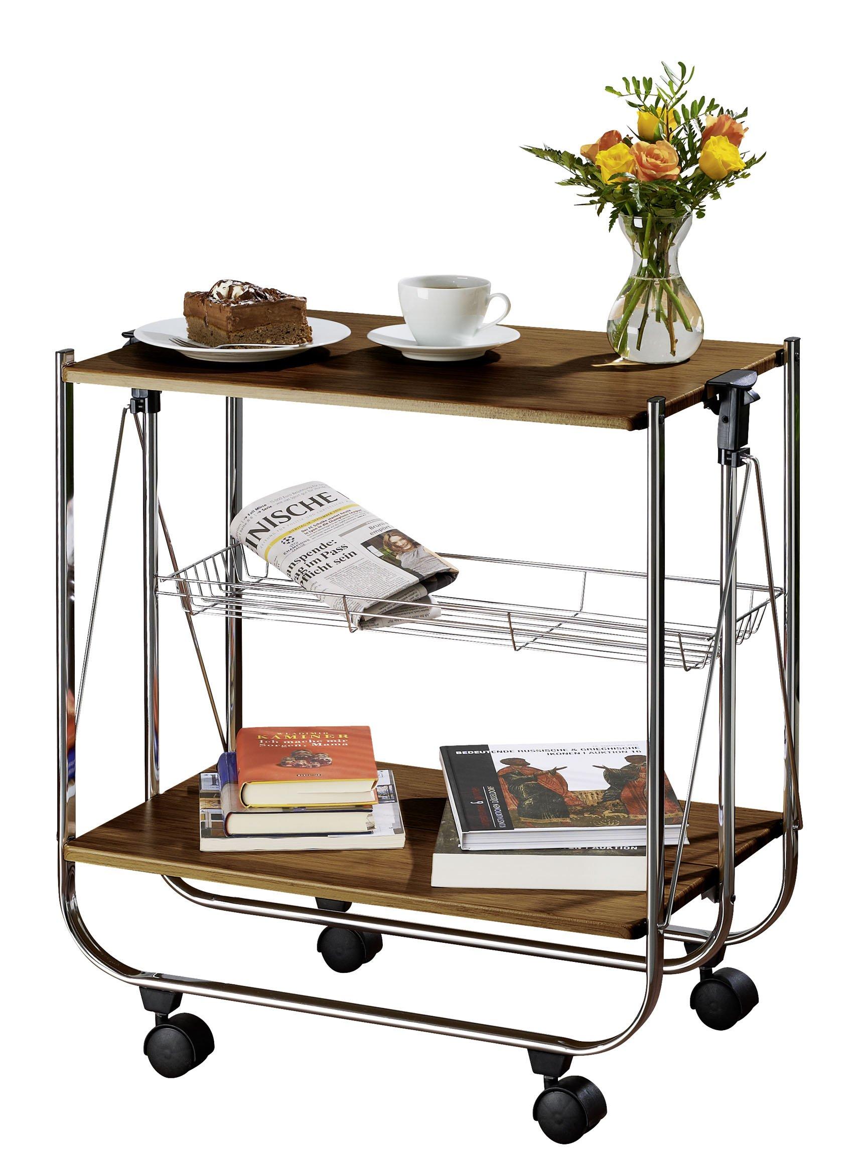 WENKO 713003100 Catering trolley Dinett Walnut - foldable, MDF, 26.8 x 27.6 x 16 inch, Shiny
