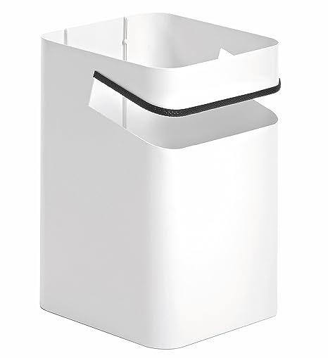 Papelera oficina para escritorio, diseño original, papelera metálica multiuso color blanco modelo Lugano de