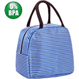 Mucjun Waterproof Lunch Bag Insulated Tote Bag for Women Travel Picnic Bag for Adults and Kids, Blue and White Strips Reusable Handbag