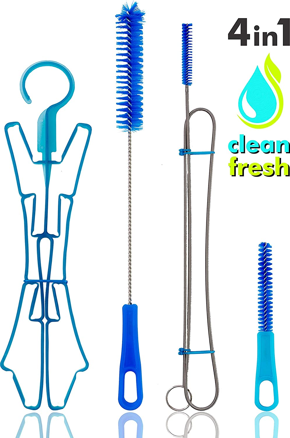 FREEMOVE Hydration Water Bladder Cleaning Kit | NO More Dirt| Universal for Hydration Bag Reservoir | Hydration Pack Bladder Cleaner | Flexible Brush, Big Brush, Small Brush and Drying Hanger