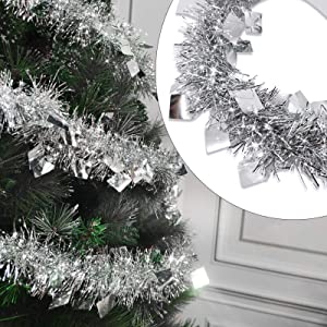 TURNMEON 5 Pack Christmas Tinsel Garland Decoration Total 33 Feet Metallic Streamers Xmas Tree Decor Holiday New Years Eve Xmas Party Supplies Indoor Outdoor Home Decor, Each 6.6Ft by 4Inch (Silver)