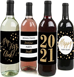 Big Dot of Happiness New Year's Eve - Gold - 2021 New Years Eve Party Decorations for Women and Men - Wine Bottle Label Stickers - Set of 4