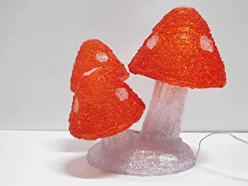 Ziegler Pilze Fliegenpilze LED beleuchtet Beleuchtung au/ßen Figur 25 cm kaltwei/ß 4957244