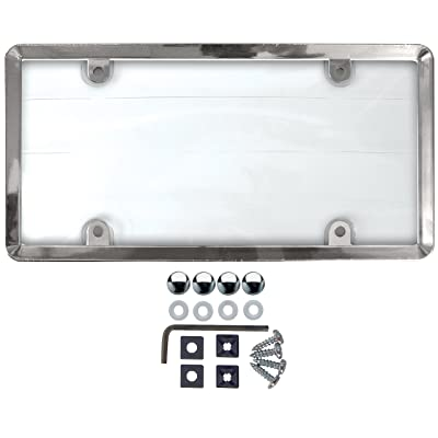 Custom Accessories 90085 Clear Cover License Plate Frame with Chrome ABS Frame Anti-Theft Fasteners: Automotive