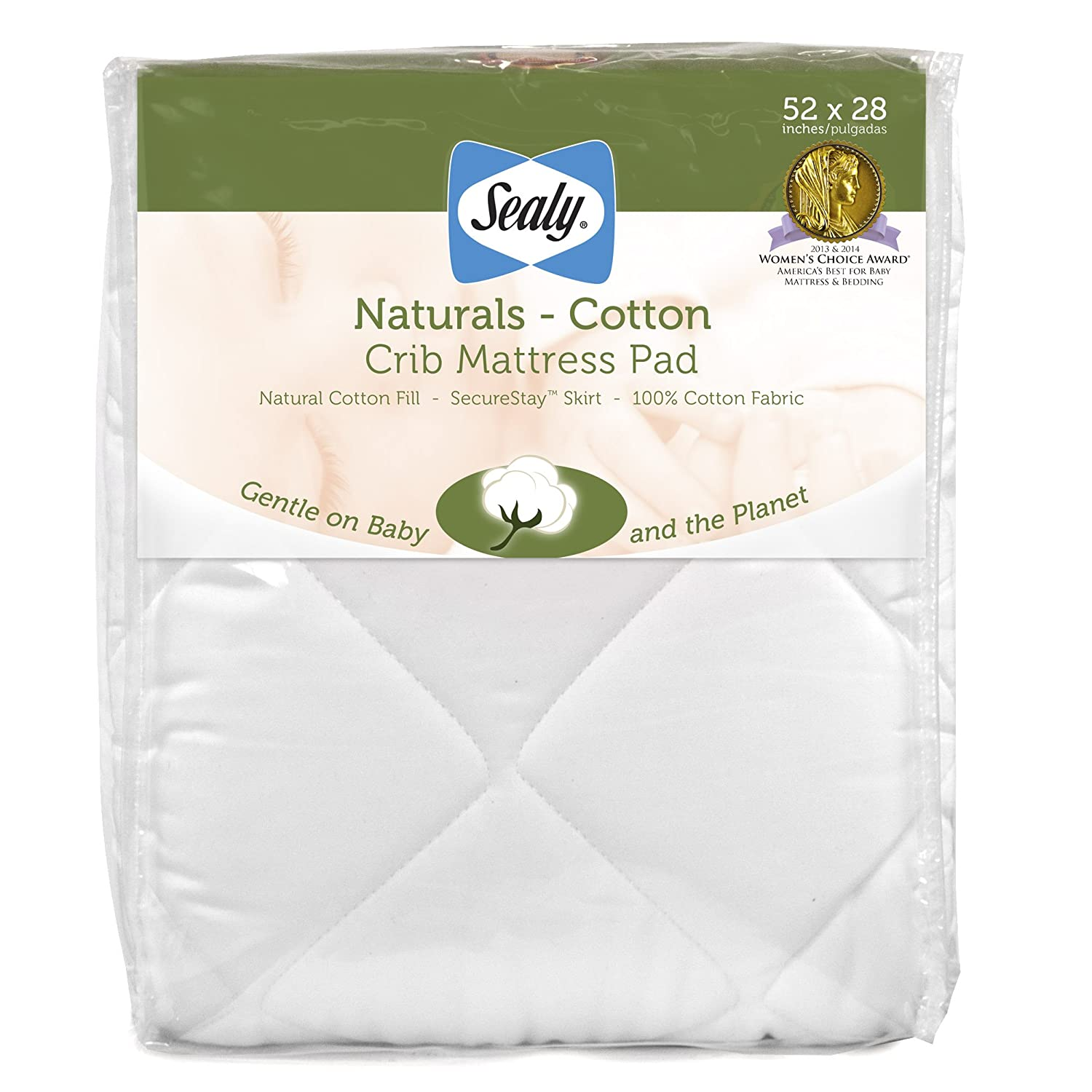 Best baby crib mattress 2013 - Amazon Com Sealy Naturals Cotton Fitted Crib Toddler Mattress Pad Cover 100 Cotton Fabric Fill Hypoallergenic 300 Thread Count Machine Washable