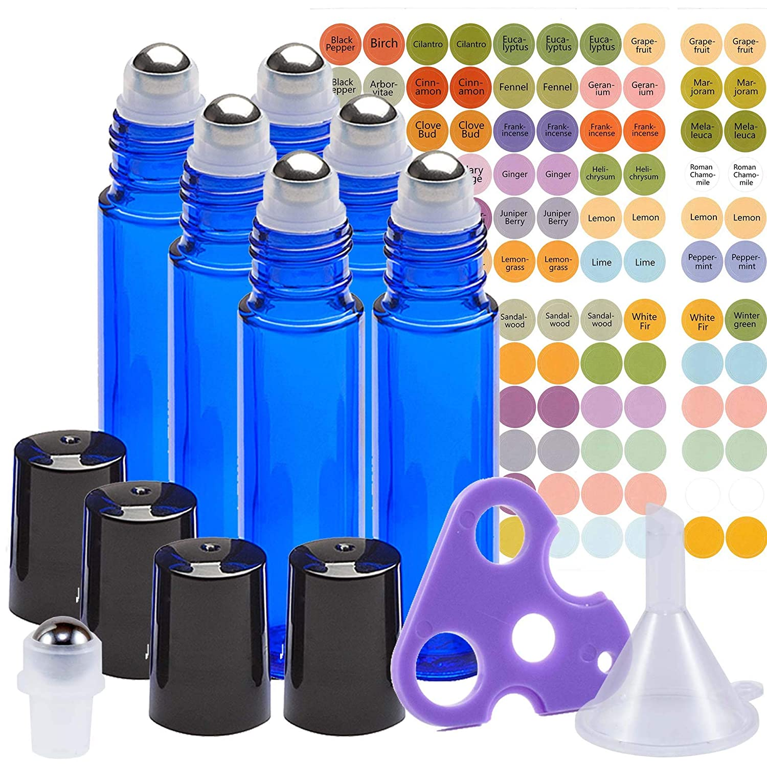 Ultimate Essential Oil Roller Bottles Set with Stainless Steel Balls, 6 Pack 10ml Dark Blue Leakproof Glass Bottle with 7 Rollerballs for Perfume & Aromatherapy Oils 1 Funnel + Opener & 192 Labels