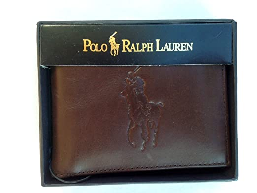 Polo Ralph Lauren Men\u0027s Big Pony Leather Bifold Wallet-Brown