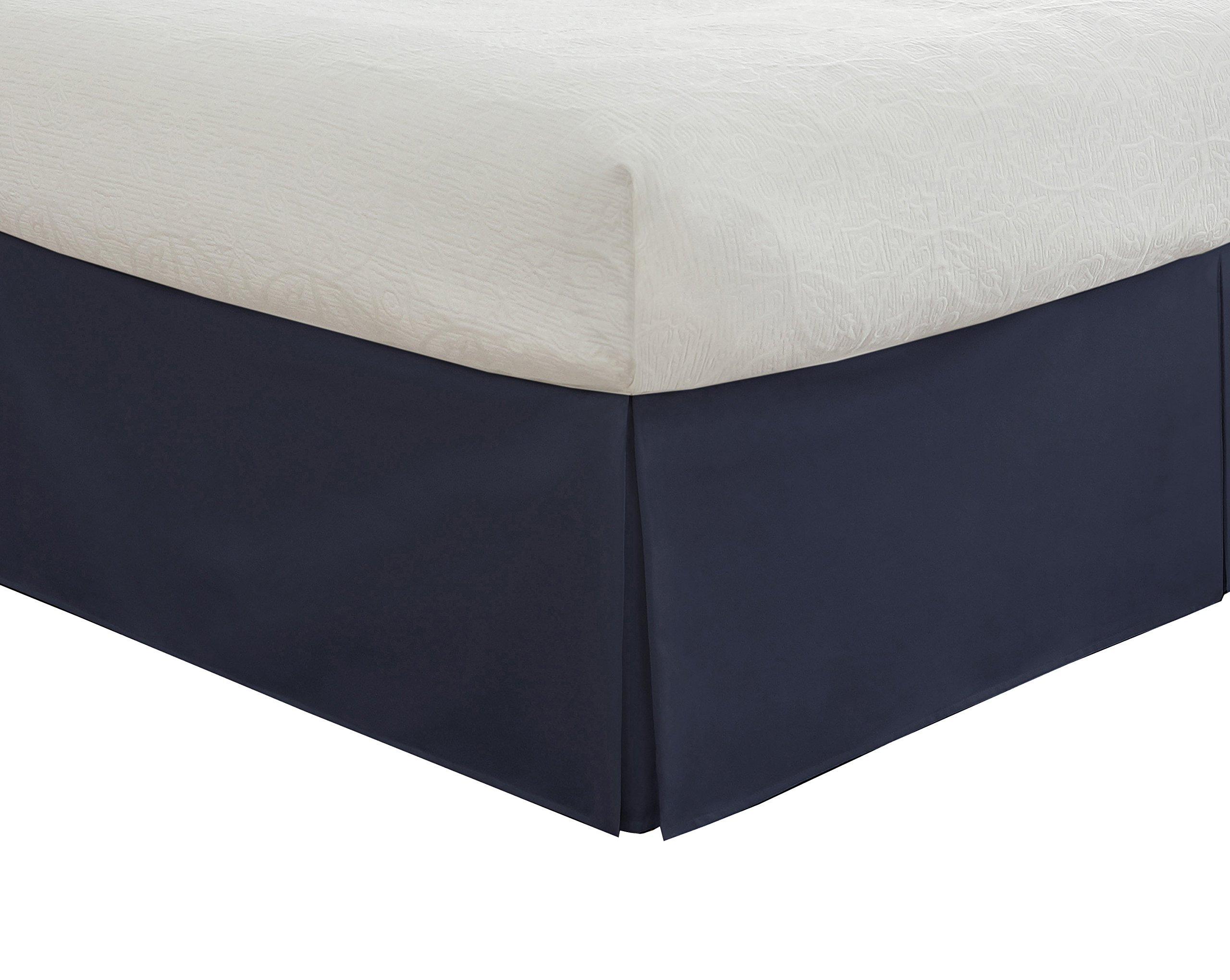 """Lux Hotel Bedding Tailored Bed Skirt, Classic 14"""" Drop Length, Pleated Styling, Queen, Navy"""
