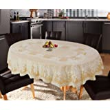 Katwa Clasic - 54 x 78 (Oval) Rose Lace Vinyl Tablecloth (Gold)