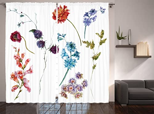 Ambesonne Watercolor Flower Curtain