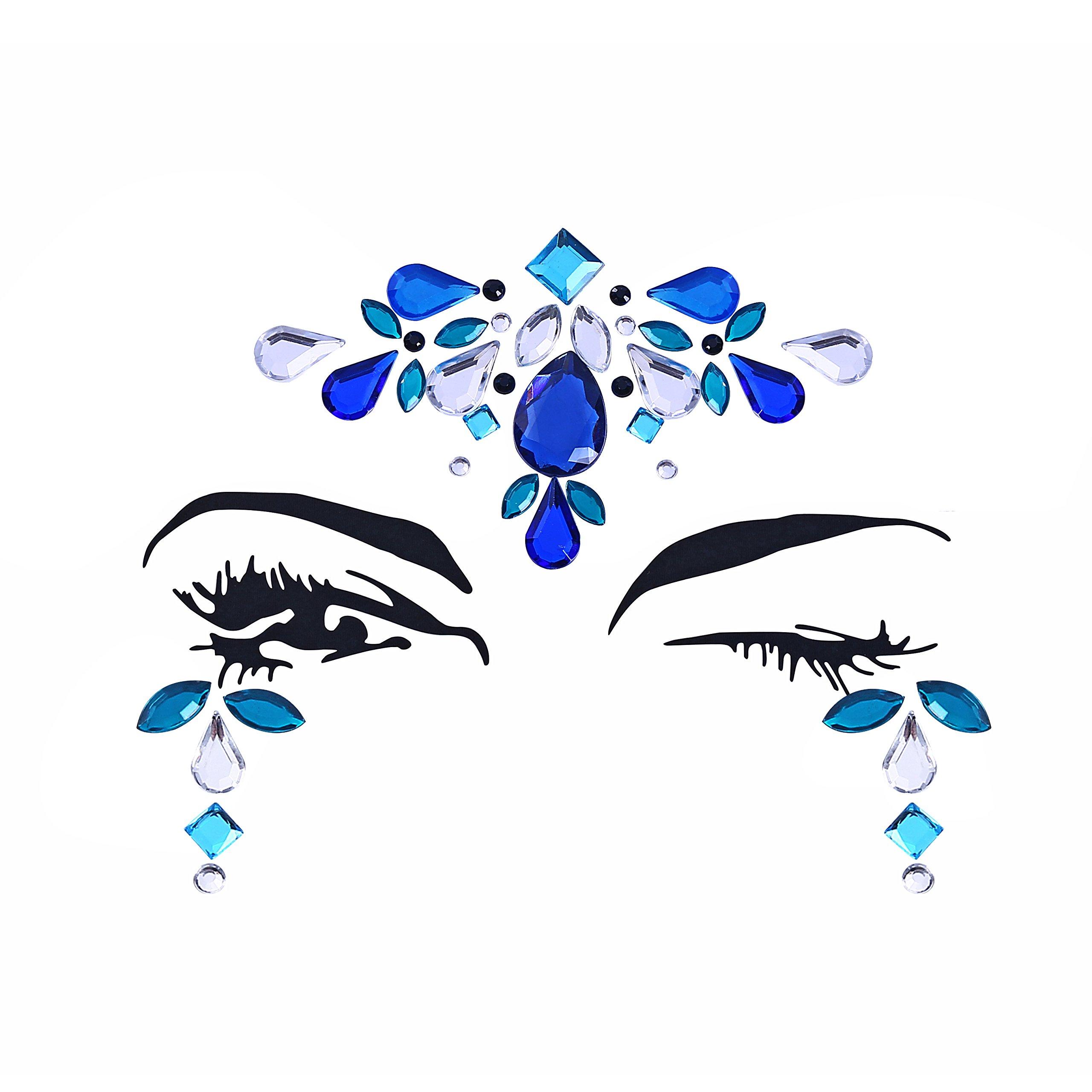 8 Sets Women Gems Glitter Rhinestone Mermaid Face Jewels Tattoo Crystal Tears Gem Stones Bindi Temporary Stickers by du fangbin (Image #5)
