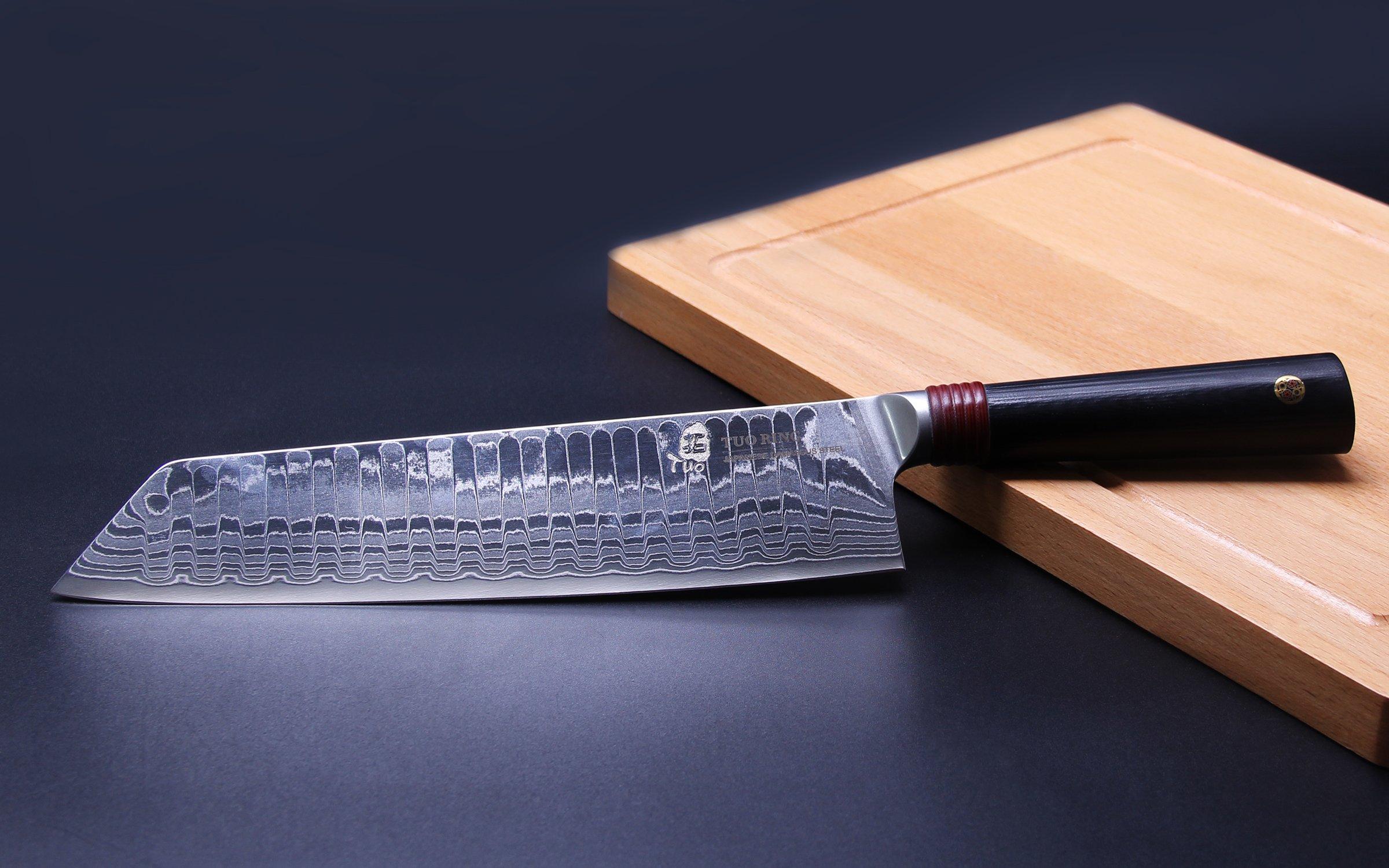 TUO Cutlery Ring D Series Japanese Damascus Kiritsuke 8.5 inch Nakiri Vegetable Kitchen Knife - Premium AUS-10 High Carbon Damascus Stainless Steel by TUO (Image #5)