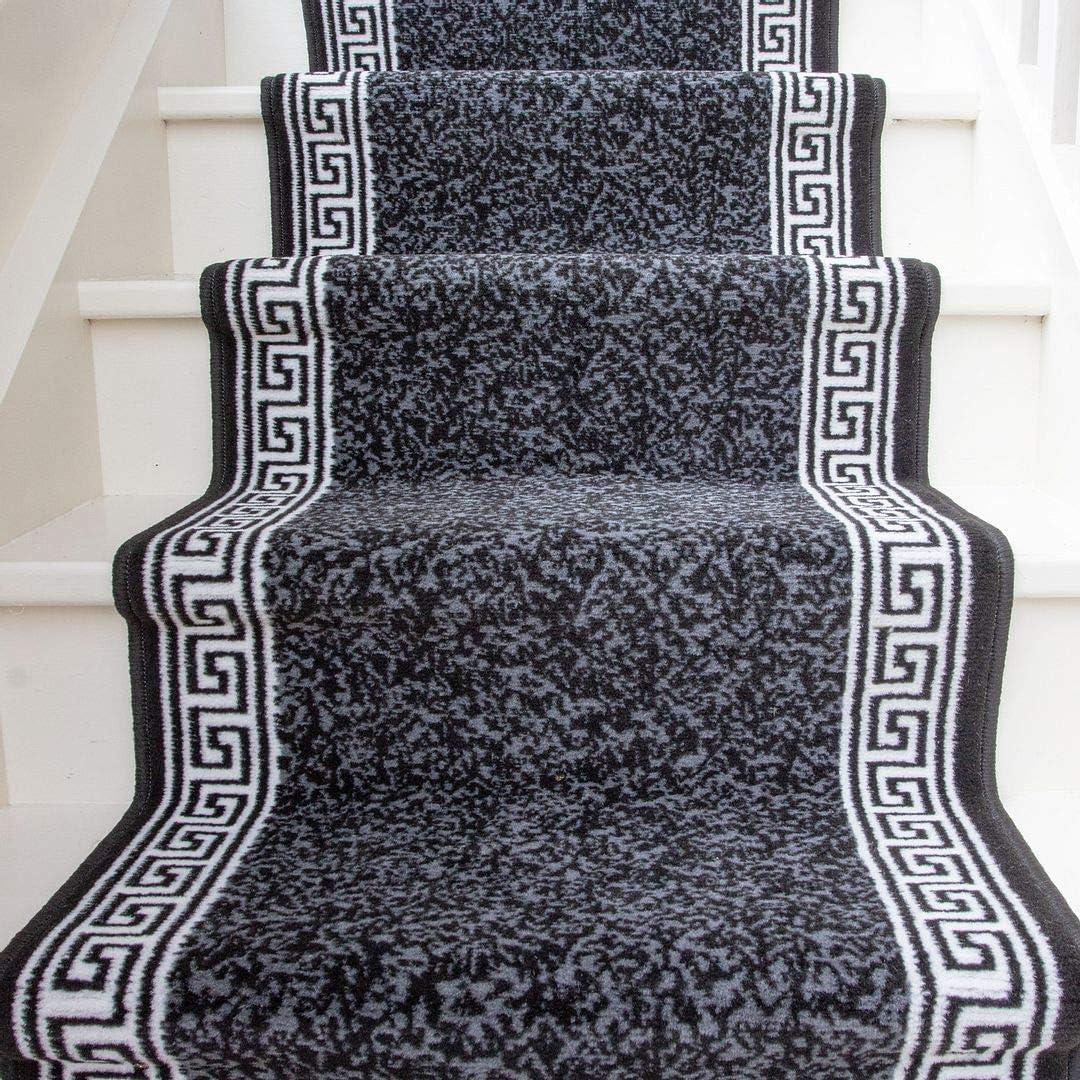 Sold and Priced Per Foot 2 3 x 10 Dark Grey Stair Carpet Durable Graphite Cream Aztec Tribal Border Stair Runner Rug Custom Length Width
