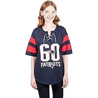 Icer Brands NFL 新英格兰爱国者队女式曲棍球运动衫 T 恤网状蕾丝 T 恤,M 码,*蓝