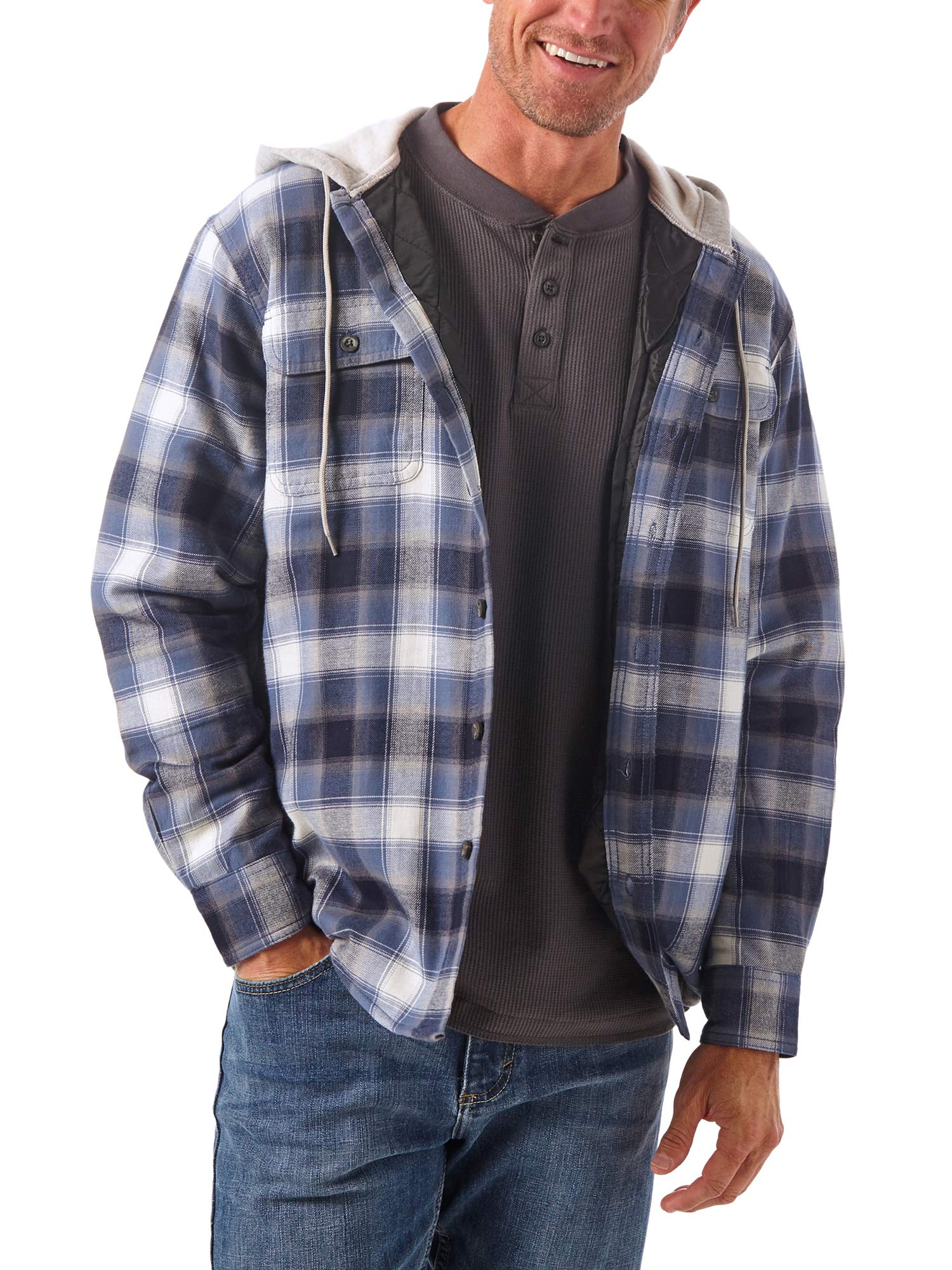 Wrangler Authentics Men's Long Sleeve Quilted Line Flannel Jacket with Hood, Vintage Night, 3X by Wrangler