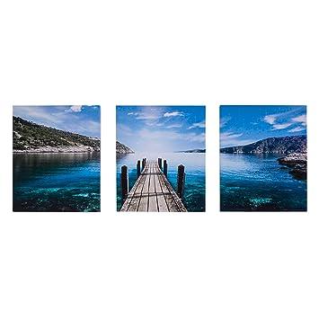 Rebecca Srl Triptychon Foto Leinwand 3 Platten Grün Blau Landschaft Jetty  Schlafzimmer Flur (Code RE4705