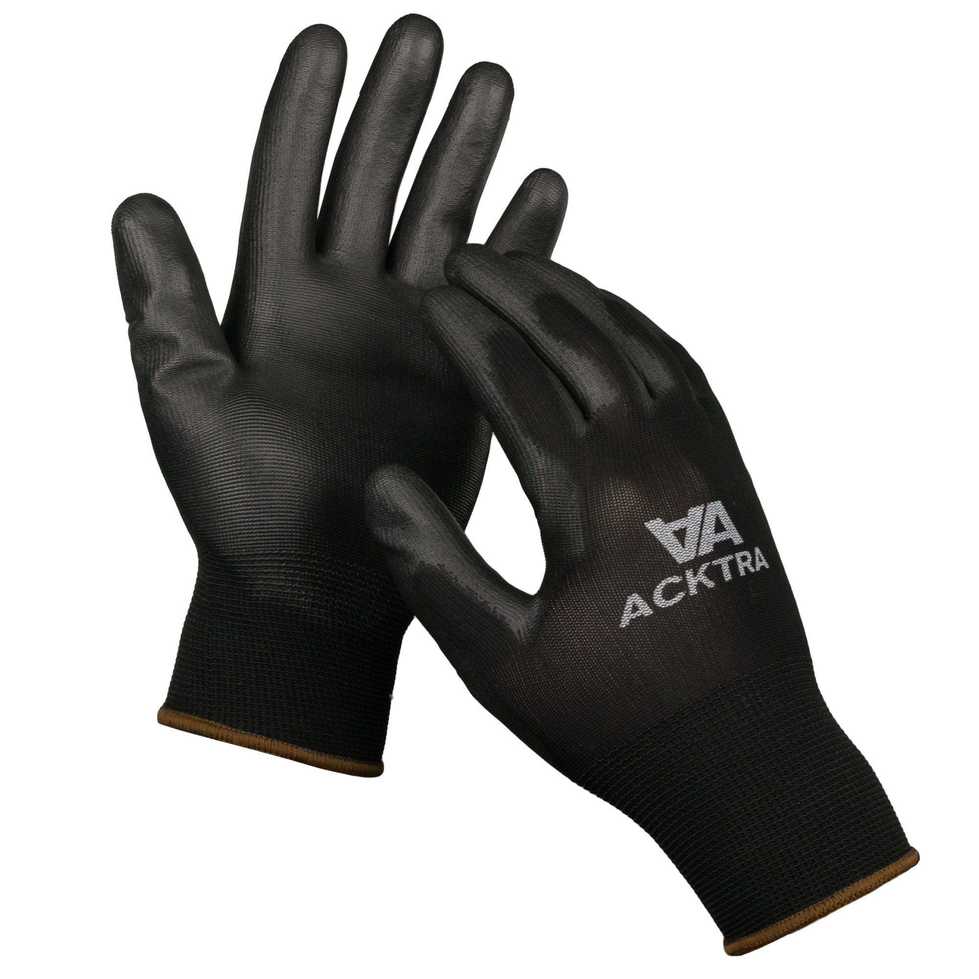 ACKTRA Ultra-Thin Polyurethane (PU) Coated Nylon Safety WORK GLOVES 12 Pairs, Knit Wrist Cuff, for Precision Work, for Men & Women, WG002 Black Polyester, Black Polyurethane, Small 1