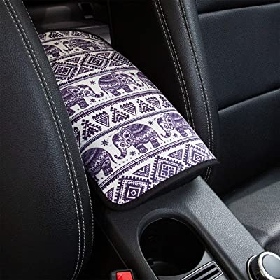 YR Vehicle Center Console Armrest Cover Pad, Universal Fit Soft Comfort Center Console Armrest Cushion for Car, Stylish Pattern Design Car Armrest Cover, Elephant: Automotive