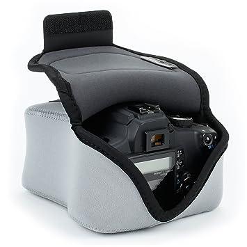 USA GEAR SLR Funda para Cámara (Gris) con Protección de Neopreno, Bolsa Cámara Reflex, Estuche Semipermeable para DSLR - Compatible con Nikon D3400, ...