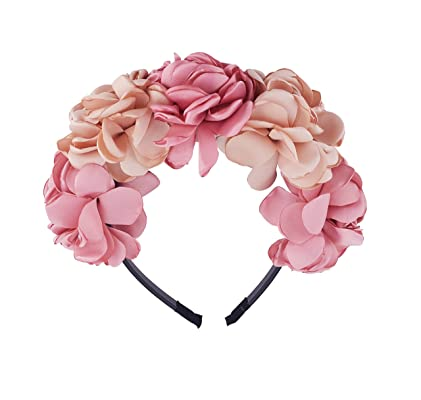 Be Unique Bowtique Flower Crown Headband Satin Champagne and Pink Flowers Designer Quality Plastic Headband with Teeth