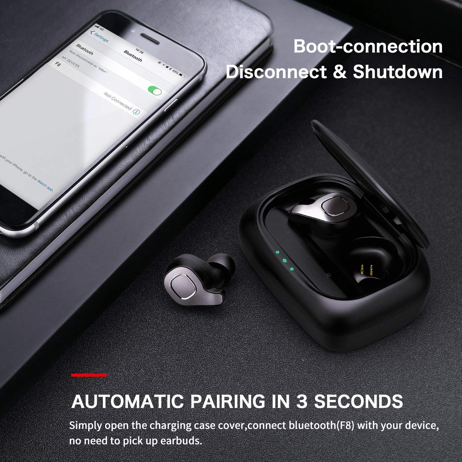 Updated Version Wireless Earbuds, Dveda True Wireless Headphones,120H Playtime with 2600mAh Charging Case,Built-in Mic CVC 8.0 Noise-Cancelling IPX7 Waterproof Headset
