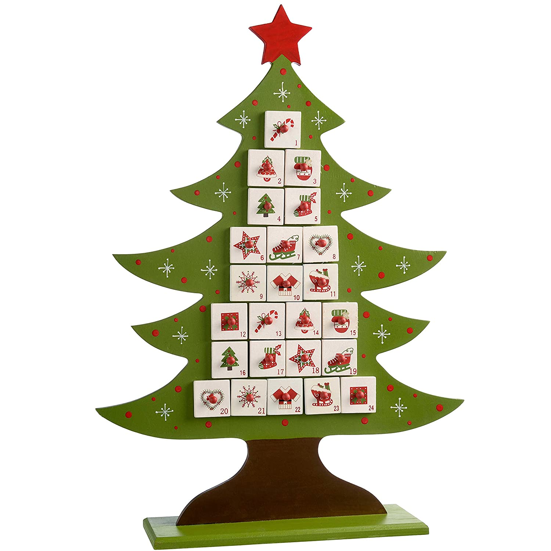 WeRChristmas–Albero di Natale in Legno Calendario dell' avvento Decorazione, Legno, Multicolour, 52 x 27 x 8 cm WRC-7091