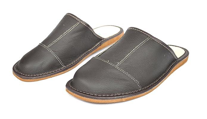 Haftic® Herren Hausschuhe Leder Pantoffeln Braun