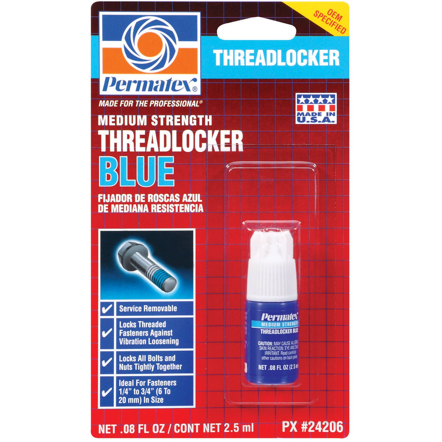 Permatex 24206 Medium Strength Threadlocker Blue, 2.5 ml product image